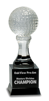 CRYSTAL GOLF BALL ON BLACK PEDESTAL