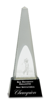 CRYSTAL OBELISK WITH 3-D GOLFER