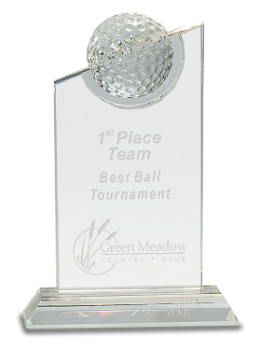 CRYSTAL GOLF BALL ON CLEAR PINNACLE