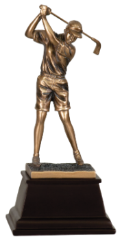 FEMALE GOLFER BRONZE GOLF RESIN