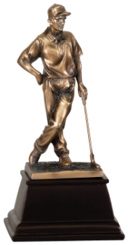 MALE GOLFER BRONZE GOLF RESIN