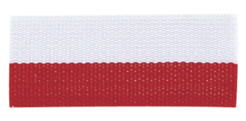 RED/WHITE NECK RIBBON WITH SNAP CLIP