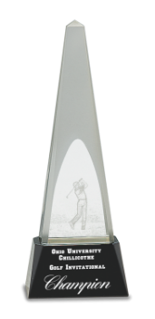 Crystal Obelisk with 3D Golfer