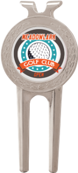 Silver Divot Tool with Custom Graphic Ball Marker