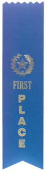 1st Place Blue Pinked Top Ribbon