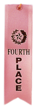 4th Place Pink Carded Ribbon with String