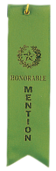 Honorable Mention Green Carded Ribbon with String