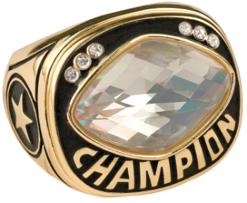 White Cut Glass Champion Ring