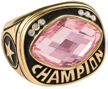 Pink Cut Glass Champion Ring