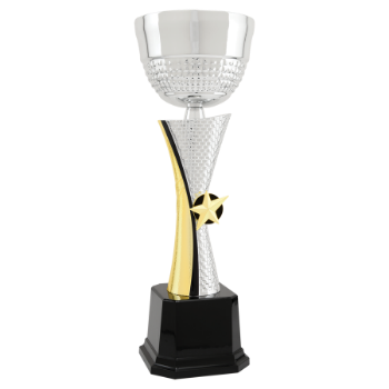13 1/2 Silver & Gold Textured Metal Cup Trophy