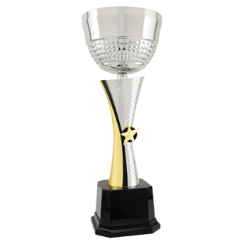 16 1/2 Silver & Gold Textured Metal Cup Trophy