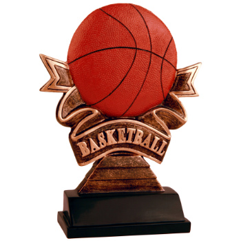Basketball Ribbon Resin Award