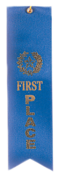 1st Place Blue Carded Ribbon with String