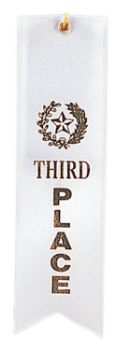 3rd Place White Carded Ribbon with String
