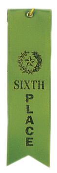 6th Place Green Carded Ribbon with String