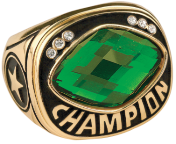 Green Cut Glass Champion Ring